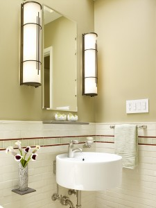 lighting, wall sconces, modern sink basin, tile design, white tiles