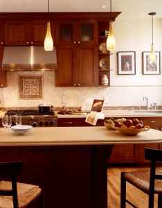 kitchen design, kitchen cabinets, open shelves, pendant lights