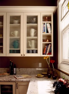 kitchen design, glass fronted cabinets, open shelf