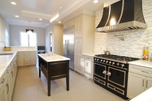 traditional kitchen, la cornue stove, white cabinets, tile backsplash