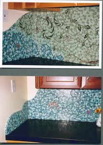 custom mosaic glass tile backsplash